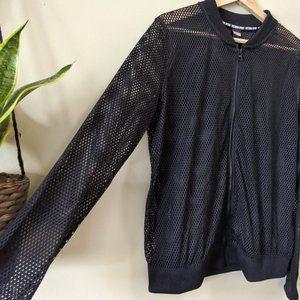 NWT Victoria's Secret Black Mesh Zip-Up Jacket